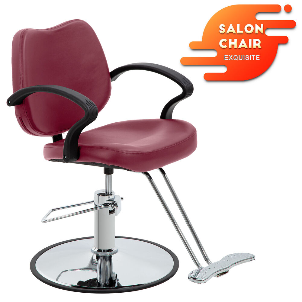 Burgundy classic hydraulic barber chair styling salon for Hydraulic chairs beauty salon
