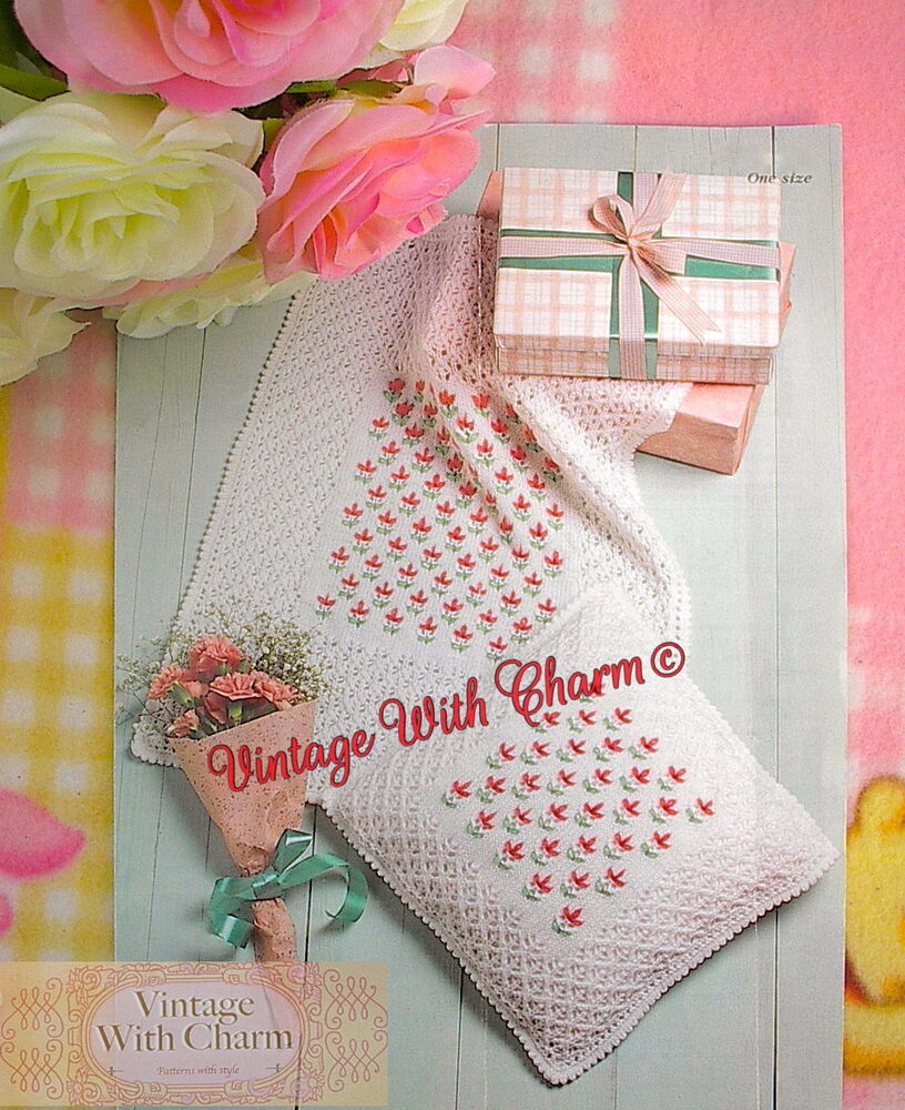 Vintage Knitting Pattern Babys Embroidered Cot Cover Blanket & Cushi...