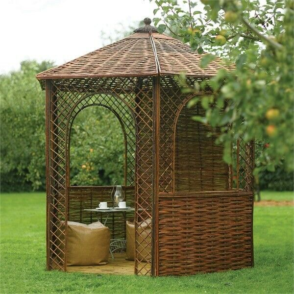 Wooden Rustic Willow Garden Gazebo Wooven 6 Side Wood