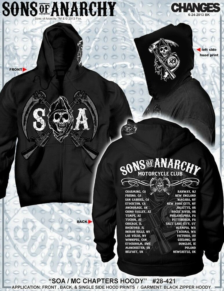 20166e59 Details about Sons Of Anarchy Chapters Cities Reaper SOA Mens Zip UP Hoodie  Official Licensed