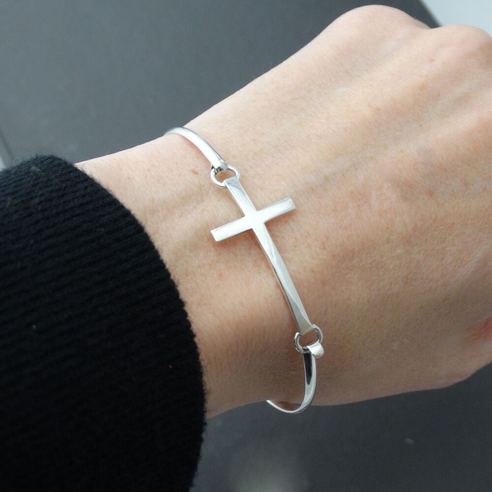 Sideways Cross Bangle Bracelet 925 Sterling Silver
