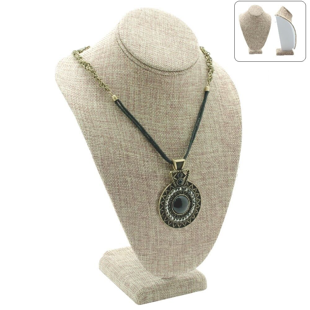 """MODERN BURLAP NECKLACE DISPLAY BUST 11"""" Tall SHOWCASE ... - photo#44"""