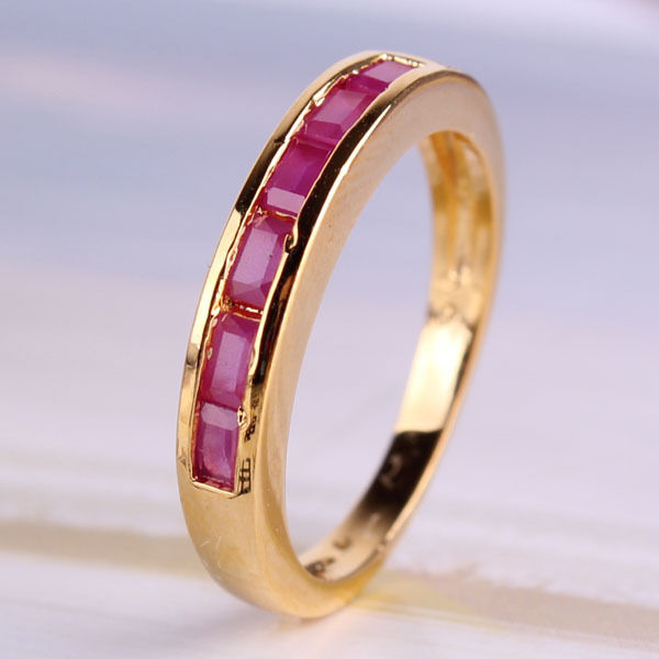 antique 24k gold filled ruby engagement journey ring sz5