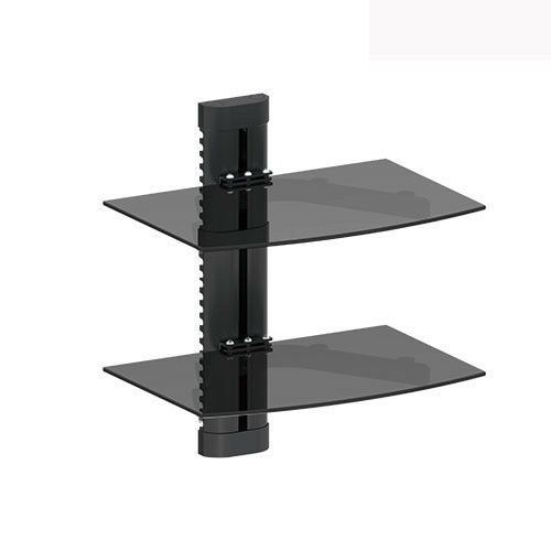 2 tier dual galss shelf wall mount under tv cable box component dvr dvd bracket ebay. Black Bedroom Furniture Sets. Home Design Ideas
