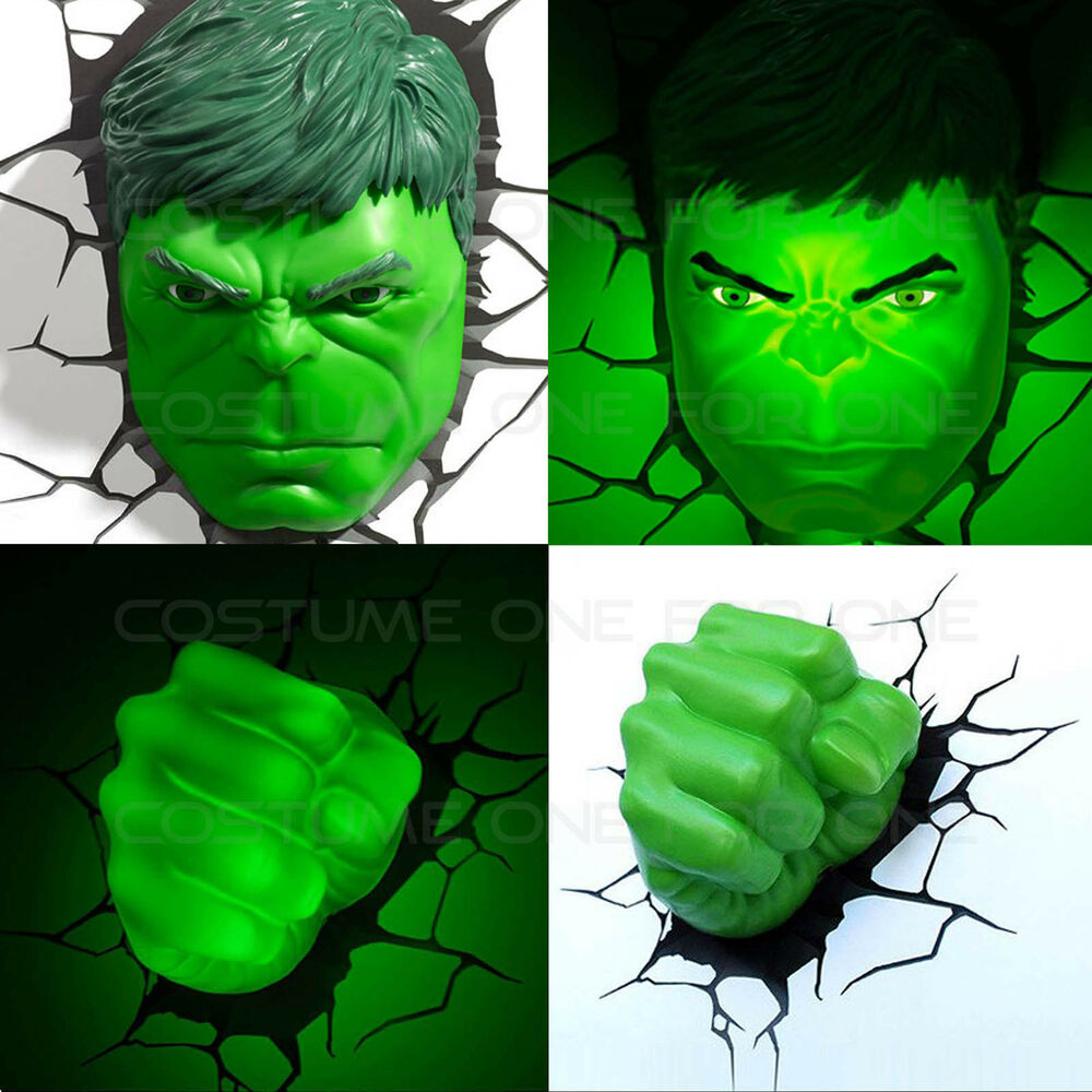 Marvel Avengers HULK Face/Head & Fist 3D Deco Wall LED Night Light Set Art Decor eBay