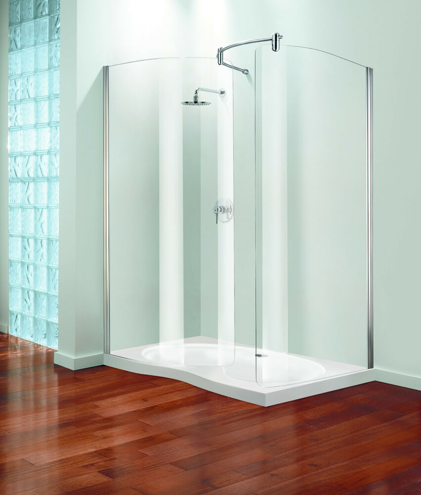 Walk in shower enclosure with curved stay clean glass panels 1500mm x 900mm ebay - Walk in glass shower enclosures ...