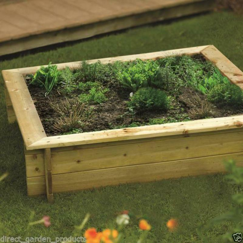 WOODEN GARDEN & PATIO RAISED BED/SANDPIT HEAVY DUTY TIMBER