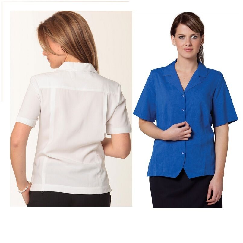 New womens work short sleeve shirt business breathable for Blue button up work shirt