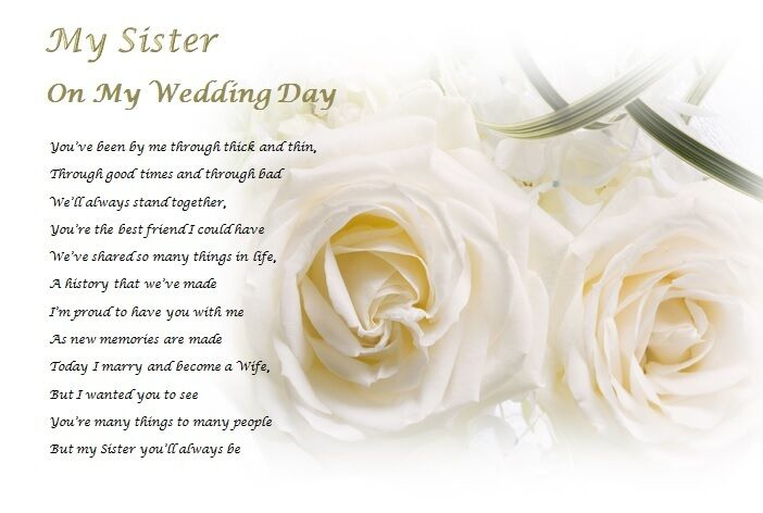 Wedding Day Gift For My Sister : SISTER on my wedding day (Laminated Gift) eBay