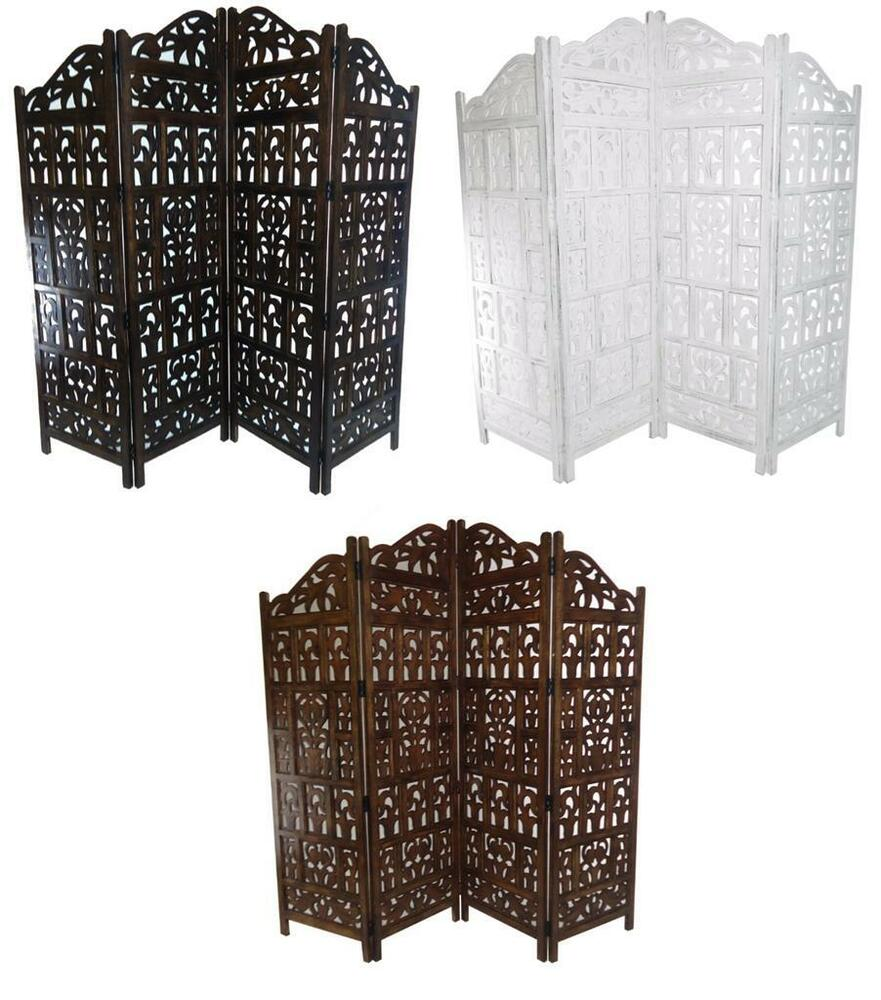 Carved Wood Screens ~ Panel heavy duty carved indian screen wooden gamla