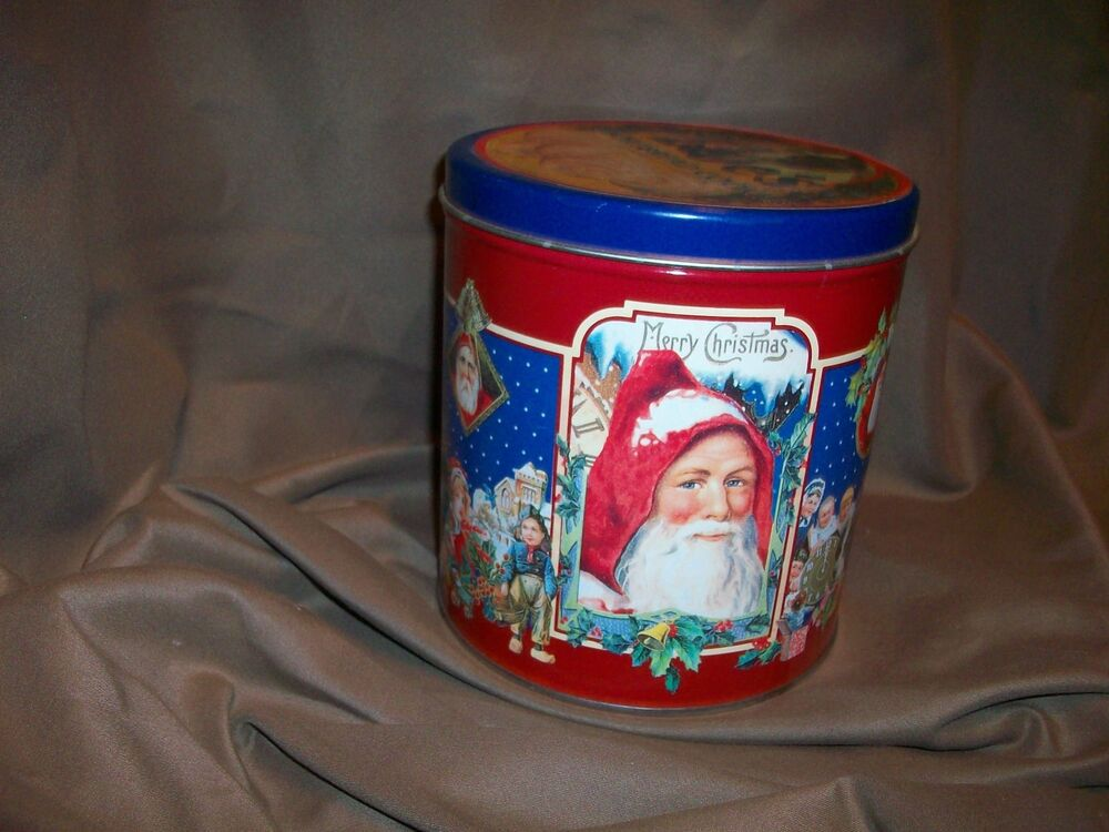 Victorian santa claus cookie candy tin christmas decor ebay for Decorating tins for christmas