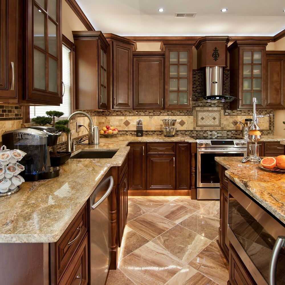 Geneva all wood kitchen cabinets chocolate stained maple for Kitchen cabinets 60056