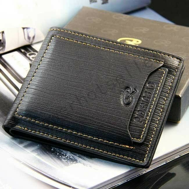 New Mens Black Genuine Leather Wallet Business Credit Card ...
