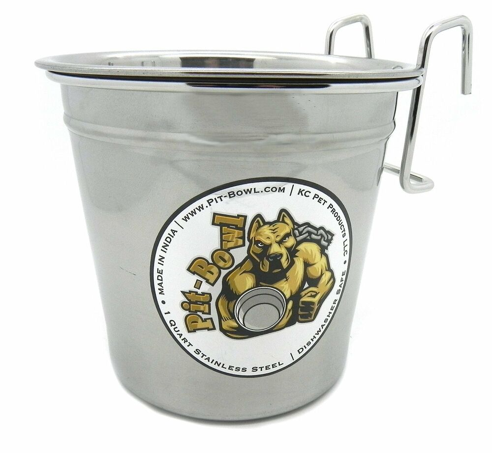 1 Stainless Steel Hook On Dog Water Crate Bowl By Pit