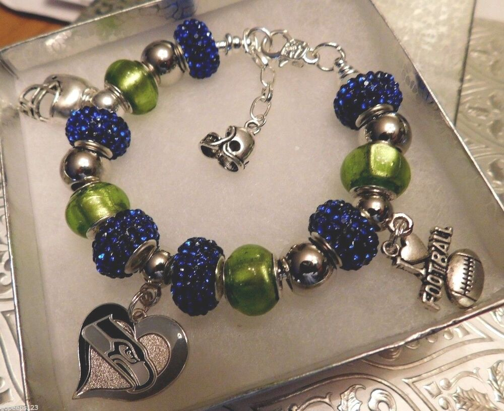 Nfl seattle seahawks crystal charm bracelet richard for Sell gold jewelry seattle