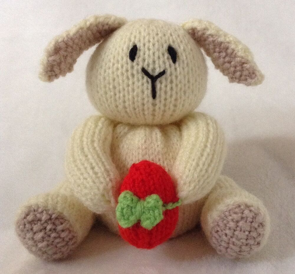 Easter Bunny Knitting Pattern : Cream Easter bunny and egg chocolate orange cover / toy rabbit knitting patte...