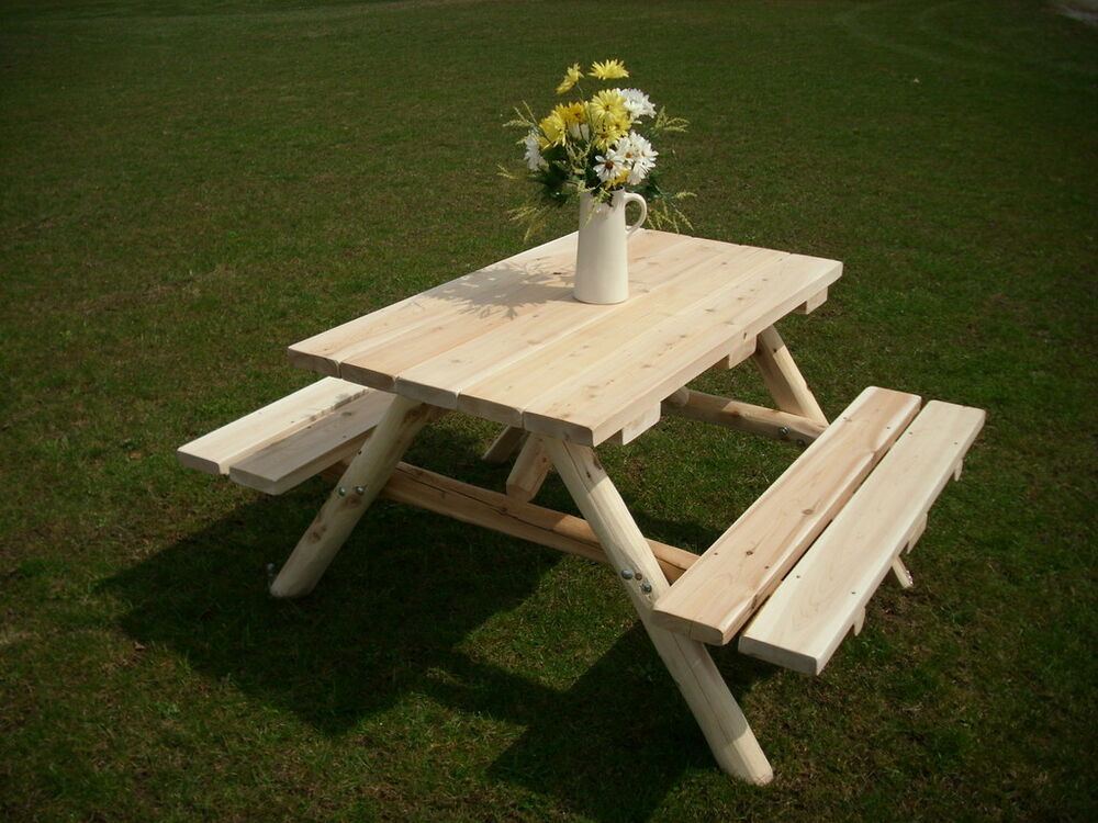 Rustic White Cedar Log 5 Foot Picnic Table With Attached
