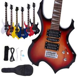 New 6 Colors Flame Type Beginner Electric Guitar +Bag Case +Cable +Strap +Picks
