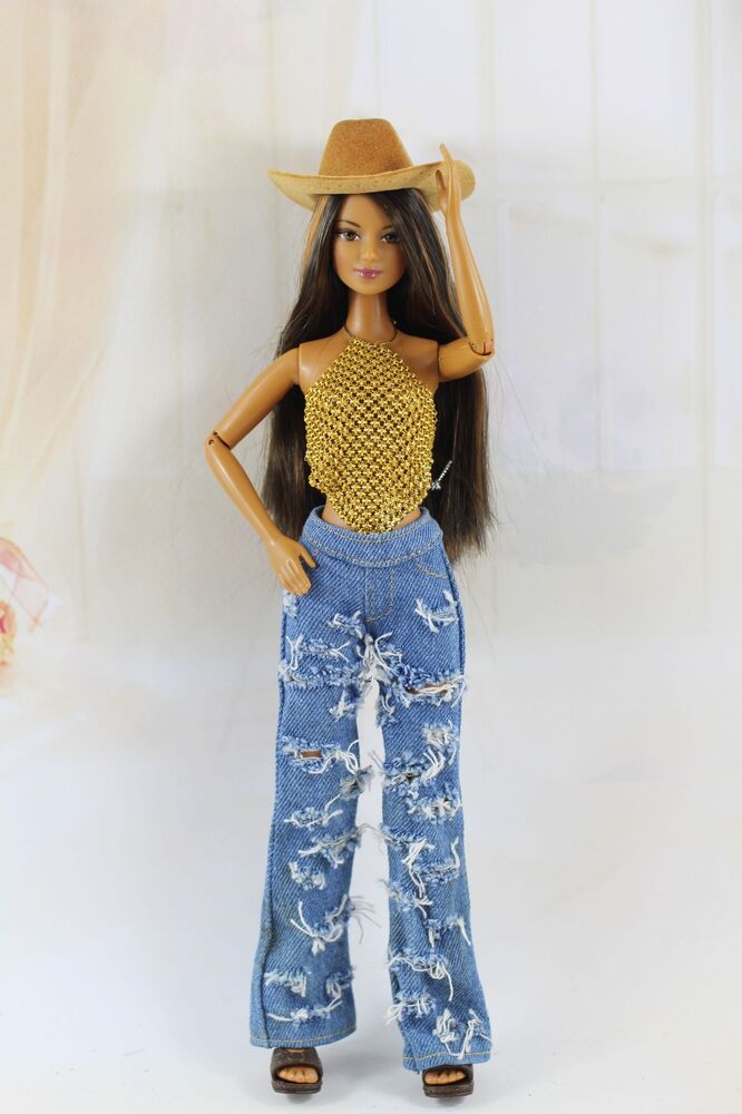 3in1 Fashion Western Cowboy Style Clothes Outfit Tops Pants Hat For Barbie Doll Ebay