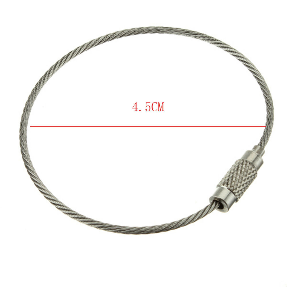 10pc Durable Stainless Steel Cable Wire Key Chain Ring
