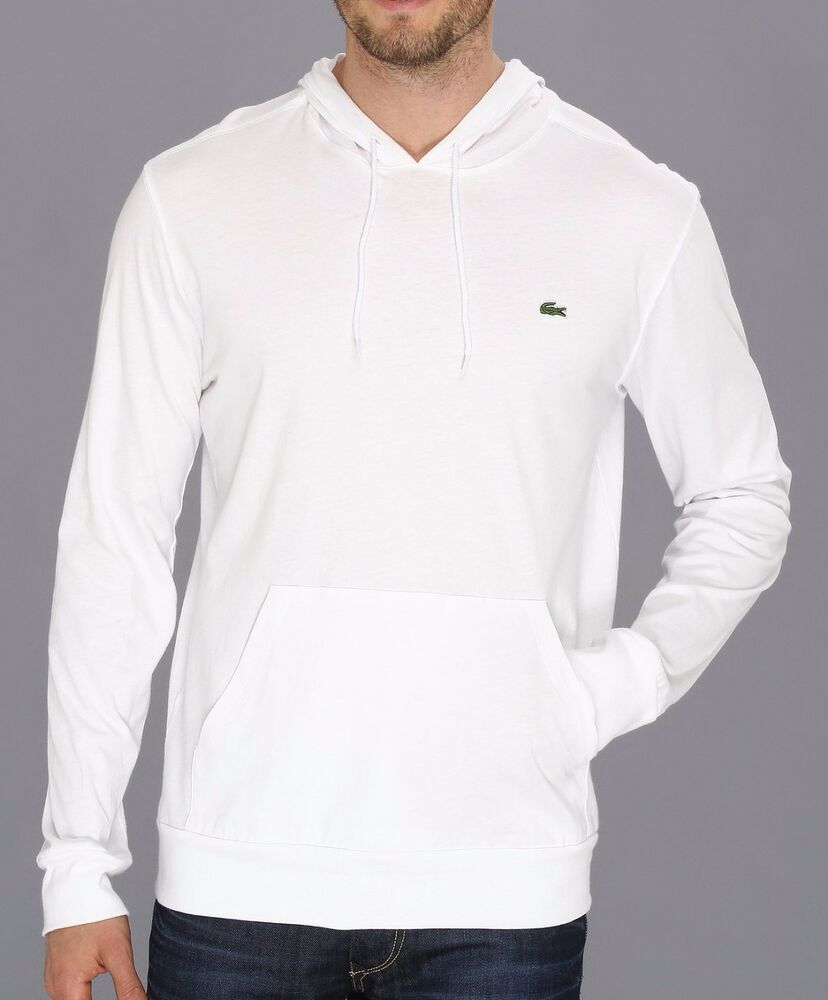 New lacoste brand men 39 s th1485 white pullover jersey for Sweater over shirt men