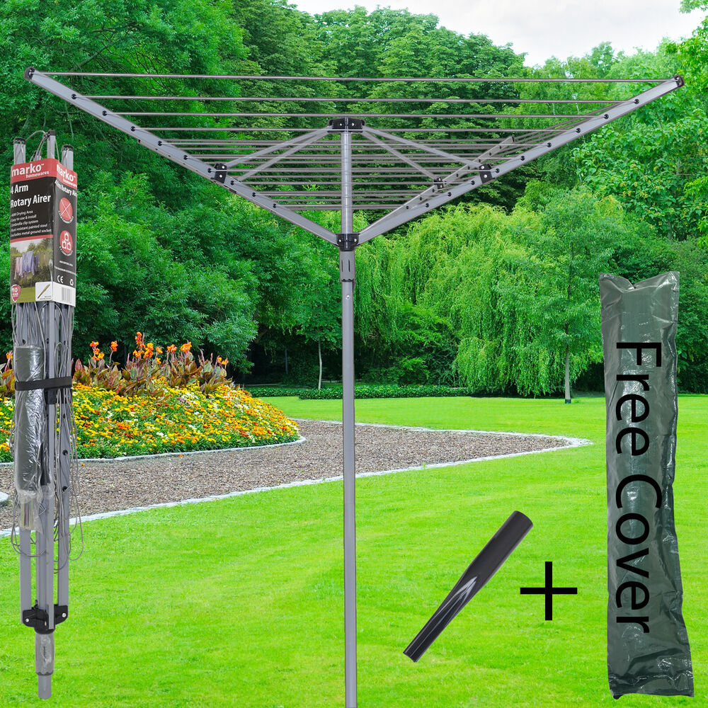 4 arm 40m rotary airer clothes dryer outdoor laundry. Black Bedroom Furniture Sets. Home Design Ideas