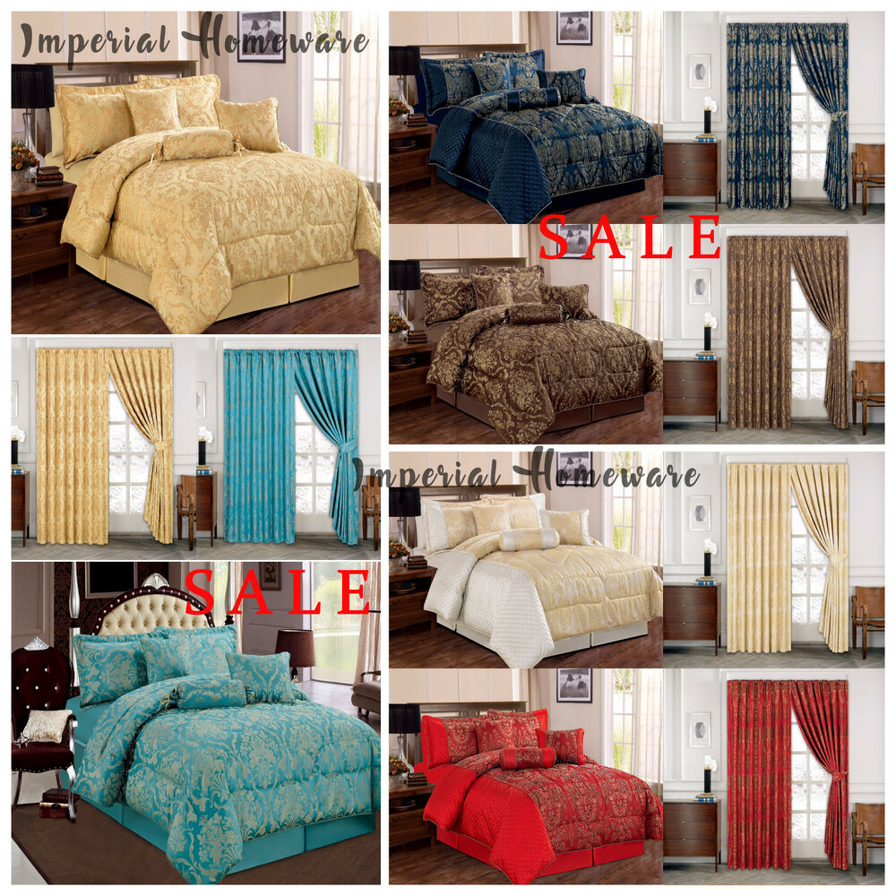 Luxury Jacquard 7 Piece Bedspread Comforter Set With Cushion Covers P Curtains Ebay