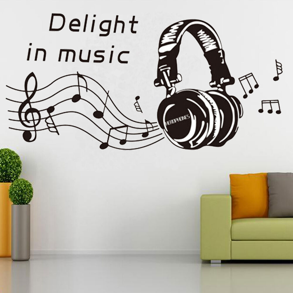 Music notes play write wall sticker removable home mural for Decor mural wall art