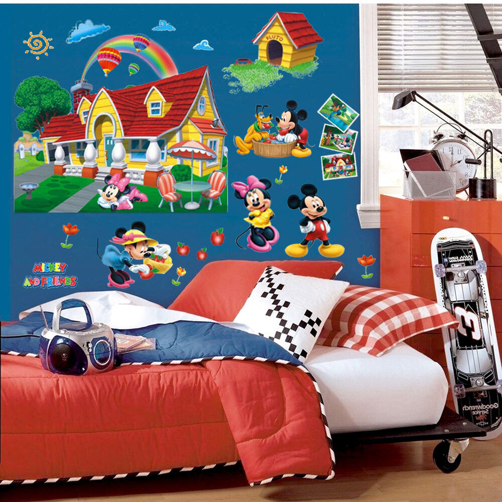 nice 3d wall sticker mickey mouse clubhouse mural pvc. Black Bedroom Furniture Sets. Home Design Ideas