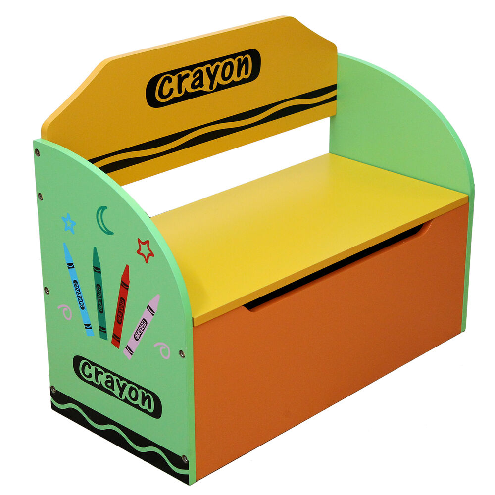 Kids Storage Bench Furniture Toy Box Bedroom Playroom: Bebe Style Childrens Crayon Wooden Toy Box, Storage Unit