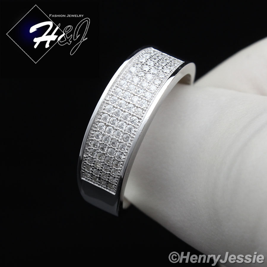Men Women 925 Sterling Silver Lab Diamond Iced Out Bling Wedding