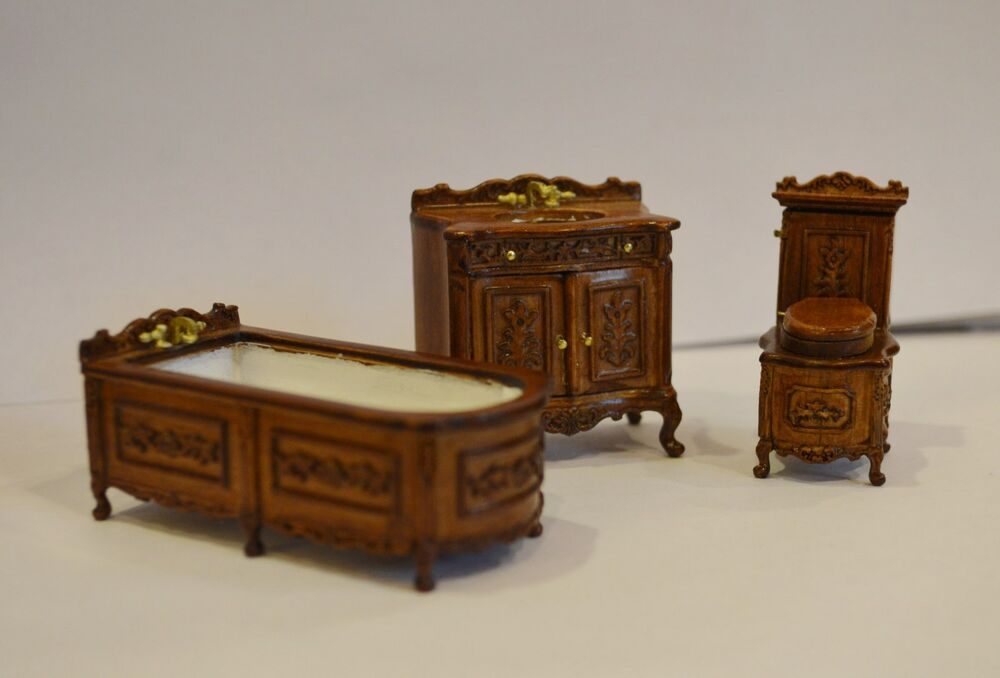 Dollhouse 1 24 half scale furniture h23052wn 3 pc bathroom Scale model furniture