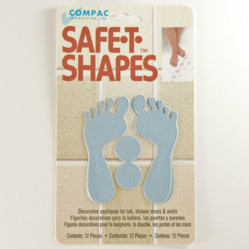 safe t shapes blue feet non slip safety applique stickers bath tub shower ebay. Black Bedroom Furniture Sets. Home Design Ideas