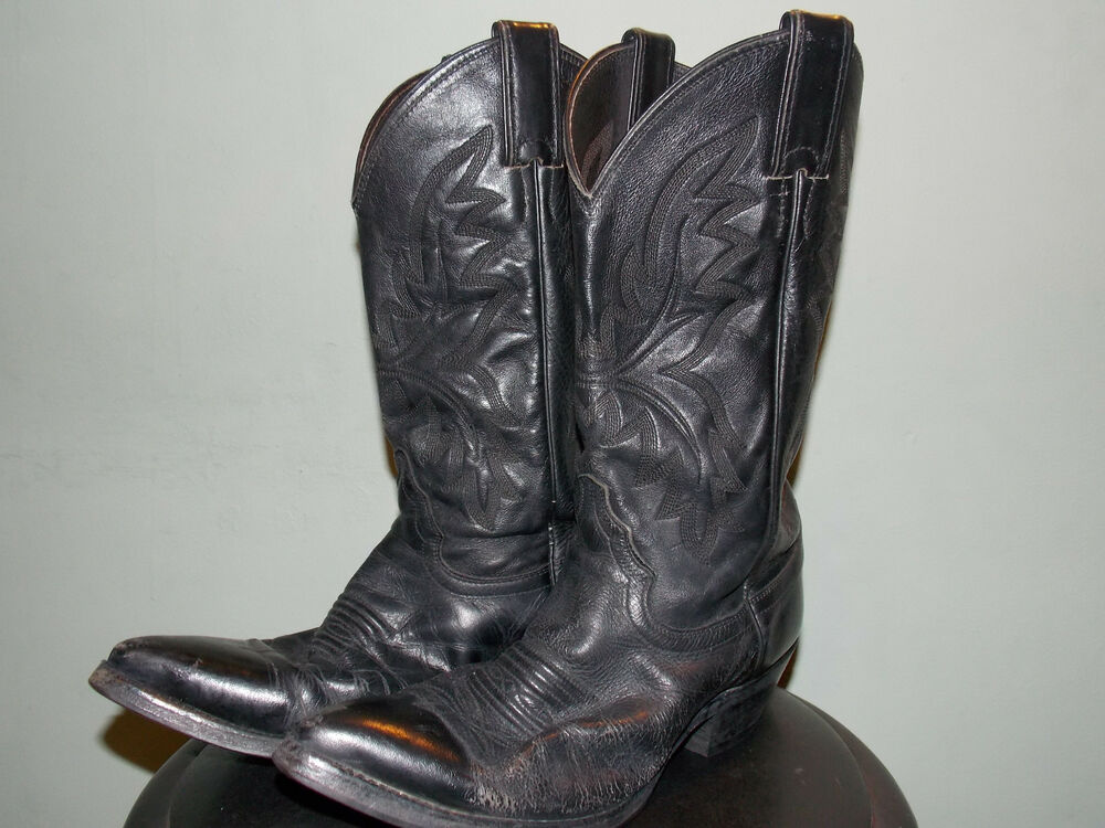 1990 s black leather western boots s size 7 b by