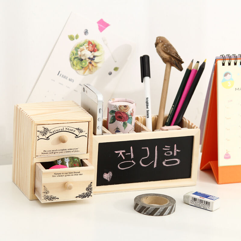 Wood wooden desk organizer cute desktop organizer pen - Cute desk organizer ...