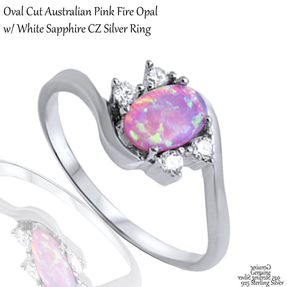 Oval Pink Fire Opal White Sapphire CZ Wedding Engagement