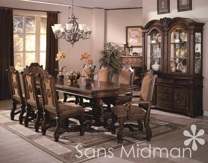 Formal 12 piece renae dining room set table 10 chairs for Formal dining room sets for 10
