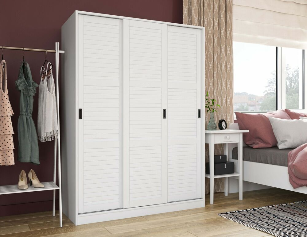 100 solid wood 3 sliding door wardrobe by palace imports 52 wx72 hx22d 3 colors ebay. Black Bedroom Furniture Sets. Home Design Ideas