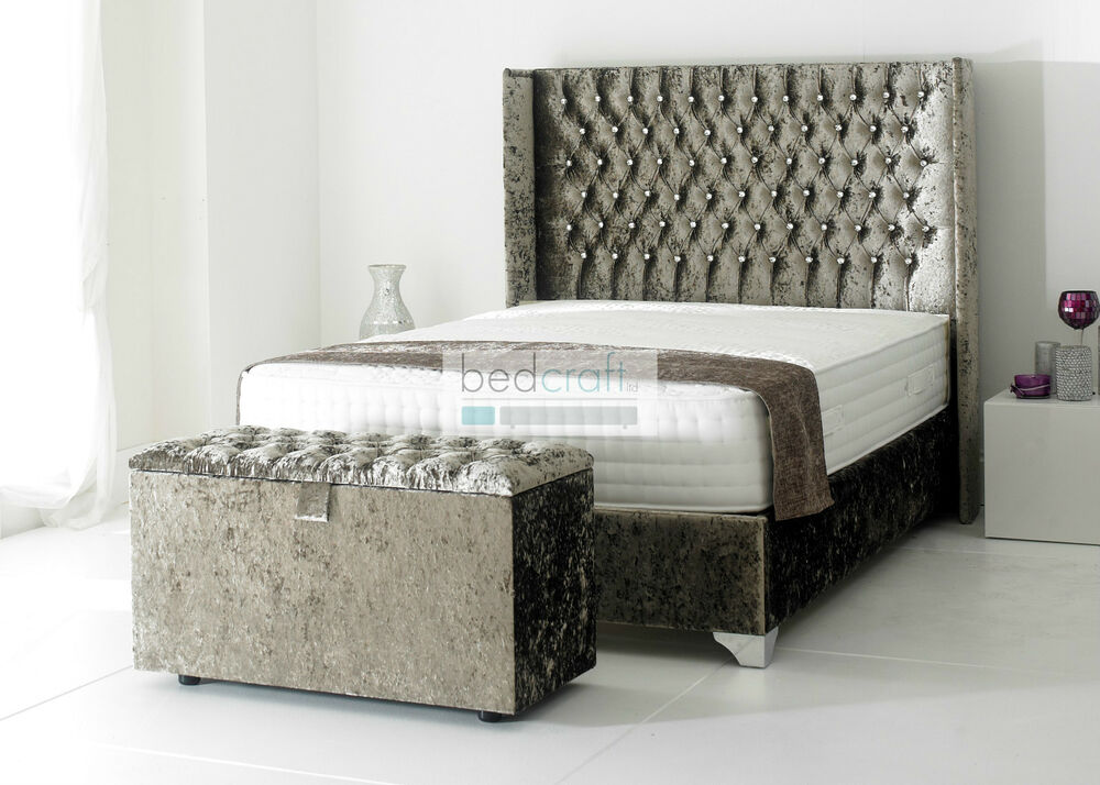 3ft 4ft6 5ft wingback upholstered bed frame chesterfield for Velvet divan bed frame