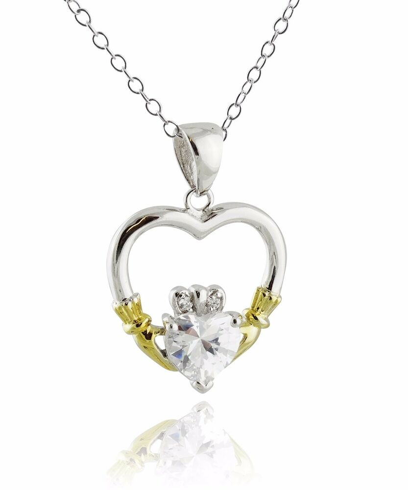 Claddagh Heart Necklace 925 Sterling Silver Cz Charm