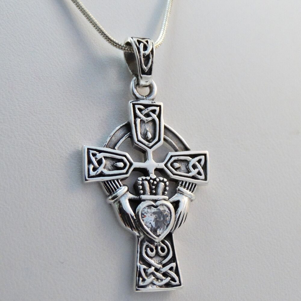 large celtic claddagh cross necklace 925 sterling silver
