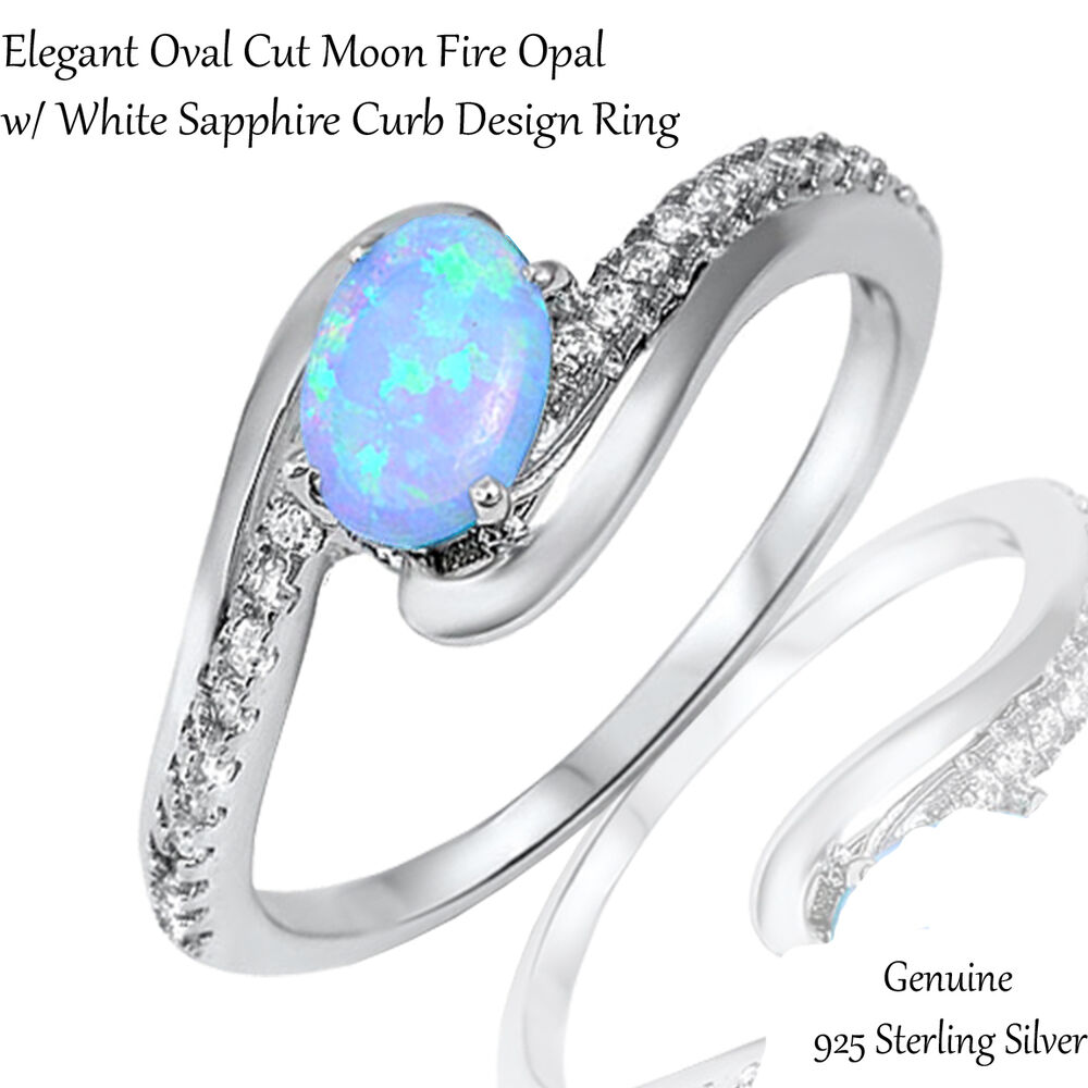 Elegant oval light blue fire opal white sapphire cz genuine sterling
