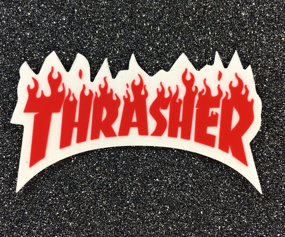 Thrasher Flame Skateboard Sticker Small 3in Red Si
