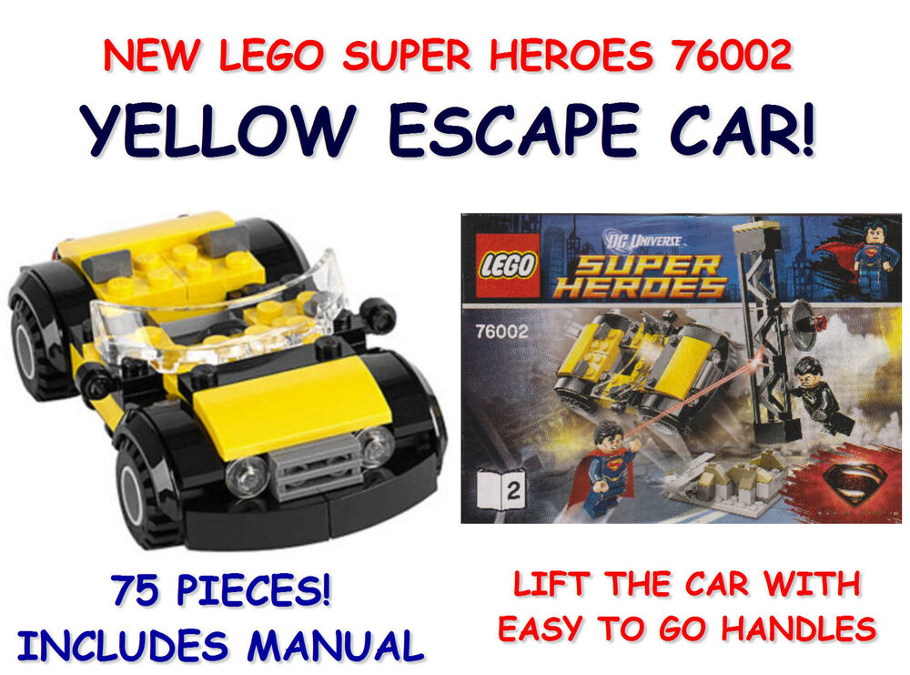 New Lego 76002 Marvel Super Heroes Yellow Attack Car With Manual 75