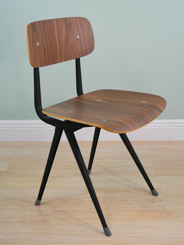 Mid century modern friso kramer style dining chair black for Modern black dining chairs