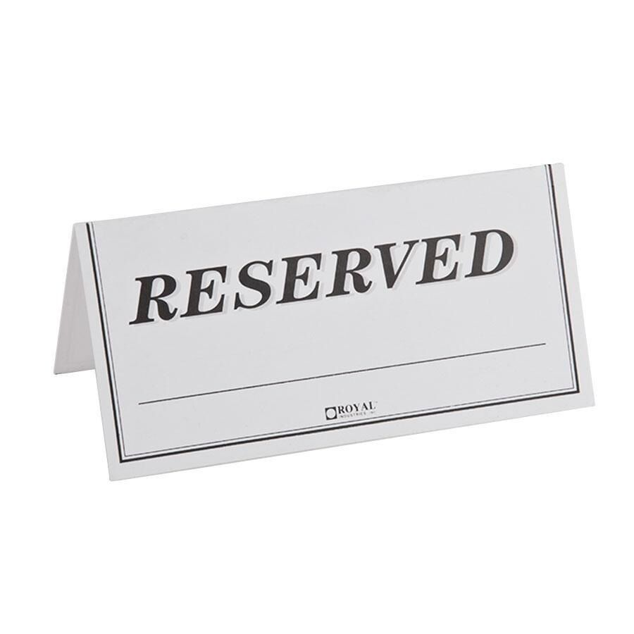 "Table Tent Sign ""Reserved"" 250 / Pack FAST Shipping !!! 