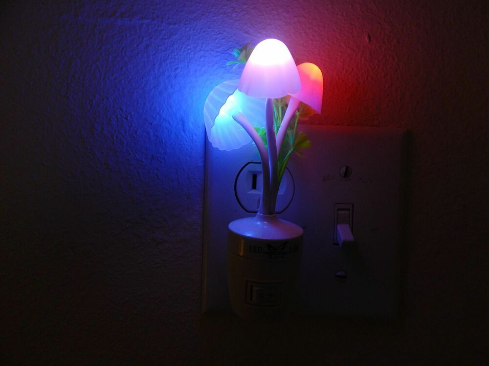 Color Rainbow Mushroom Led Night Light Plug In Wall Lamp