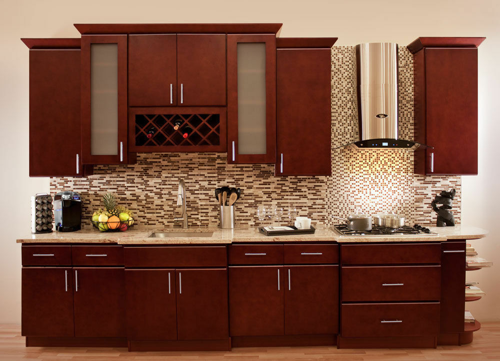 Villa cherry wood kitchen cabinets cherry stained maple for Cherry kitchen cabinets