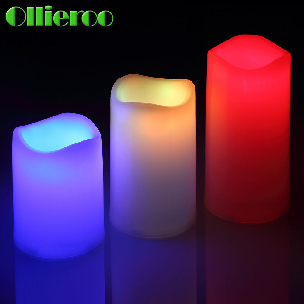 ollieroo 3 pcs flameless led candles light with remote color changing wedding ebay. Black Bedroom Furniture Sets. Home Design Ideas