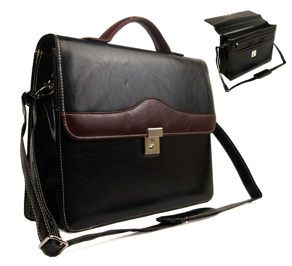 New Quality Faux Leather Business Briefcase Work Office Documents Satchel Bag | EBay